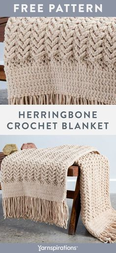 Free Herringbone Crochet Blanket pattern using Bernat Blanket yarn. Slipping stitches never looked so good! Combine double crochet, single crochet, slip stitches and chains to create a classic, textured throw and finish it off with a fabulous fringe. #Yarnspirations #FreeCrochetPattern #CrochetAfghan #CrochetThrow #CrochetBlanket #BernatBlanket #BernatYarn Blanket Yarn, Knitted Blankets, Baby Blanket Crochet, Crochet Baby, Single Crochet, Modern Crochet Blanket, Crochet Summer, Blanket Stitch, Merino Wool Blanket