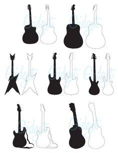 INSTANT DOWNLOAD Guitar silhouette - scrapbook embellishments