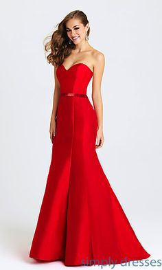 Shop Madison James long formal gowns and ball gowns at Simply Dresses. Strapless party dresses and long evening gowns with beaded waists.