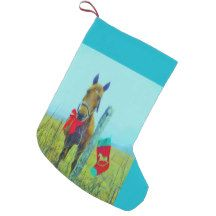 Brown horse red bow & Christmas stocking Small Christmas Stocking