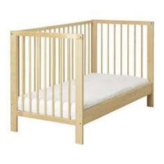 Co-Sleeper  GULLIVER Crib - IKEA The bed base can be placed at two different heights. One crib side can be removed when the child is big enough to climb into/out of the crib. -Length: 136 cm Width: 75 cm Height: 83 cm Bed width: 70 cm Bed length: 132 cm