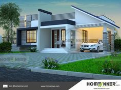 Searching for Small 3 BHK Beautiful Home Design ? then here is a beautiful home design idea from Homeinner 3 bedroom plan collection.The single story modern themed home design consist of 3 Bedroom,… Single Floor House Design, Simple House Design, House Front Design, Modern House Design, Indian Home Design, Kerala House Design, 3d Home Design, 2 Storey House Design, Bungalow House Design