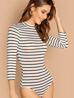 ca9470082d Mock Neck Slim Striped Bodysuit. SHEIN UK