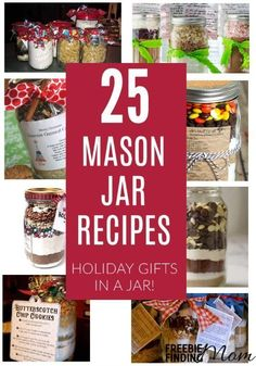 Mason jar recipes make thoughtful inexpensive gifts in a jar that are perfect for friends teachers babysitters and mail people. Be inspired by these recipes in jars for cookies brownies soups pancakes and more. Pot Mason, Mason Jar Meals, Mason Jar Gifts, Meals In A Jar, Mason Jar Diy, Gift Jars, Gifts In Jars, Canning Jars, Wine Bottle Crafts