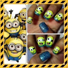 Fun nail idea for the kids Funky Nail Art, Funky Nails, Cute Nail Art, Cute Nails, Fingernail Polish Designs, Minion Nail Art, Owl Nails, Self Nail, Nail Art For Kids