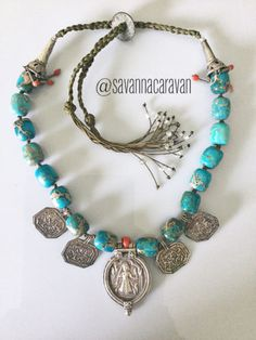 Indian Rajasthan Uzbekistan old silver pendants coral turquoise necklace by SavannaCaravan on Etsy Beaded Jewelry, Silver Jewelry, Handmade Jewelry, Beaded Necklace, Unique Jewelry, Necklaces, Silver Pendants, Turquoise Color, Boho Gypsy