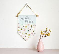 Bannière fanion plaque de porte - décoration murale - home - motif flamant rose pastèque ananas palmier