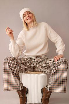 Tenue tendance à carreaux hiver 2019 Diy Mode, Striped Pants, My Outfit, Outfits, Fashion, Creative Workshop, Tile, Winter, Fashion Ideas