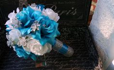 Malibu Blue White Rose with Silver accents Wedding Bouquet, Blue White Bouquet…