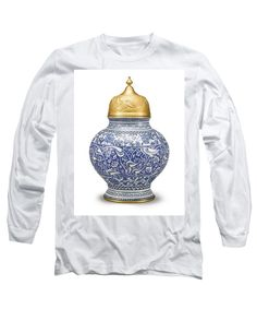 An Ottoman Iznik Style Floral Design Pottery Polychrome, By Adam Asar, No 9 - Long Sleeve T-Shirt