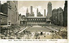 1937 view of Bryant Park facing 5th Avenue. (BP postcard collection) Bryant Park | Park History