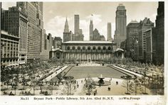 Vintage 1937, view of Bryant Park facing 5th Avenue, NYC, www.RevWill.com