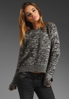 360 SWEATER Bertie Cashmere Drape Back in Black/Bone