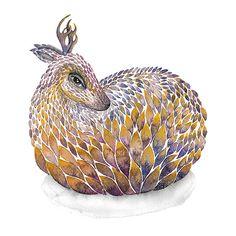 Roe deer painting yellow / violet Watercolor Art PRINT