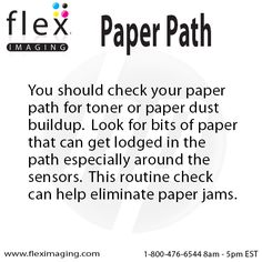 Check your paper path for toner or paper dust to prevent jams.  http://www.fleximaging.com