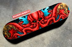 Featured Deck of the Day: Cthulhu by Matthew Hampton Painted Skateboard, Skateboard Deck Art, Skateboard Pictures, Skateboard Design, Skate Ramp, Skate Decks, Custom Skateboards, Cool Skateboards, Skates