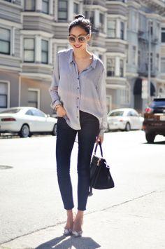 Blouse - Zara  Jeans - Forever21  Necklace - thanks to Albeit Jewelry  Heels - Stella McCartney  Purse - Celine