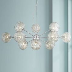 "Possini Euro Wired 32"" Wide Glass and Chrome Chandelier - #W6919 