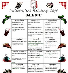 My children use this menu as they are in the Independent Reading Station. Throughout the week, they must have one appetizer, salad, main course, and dessert question (at least) answered in their reading notebook for credit.