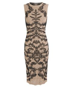 Light blush and black fine silk-blend lace knit dress by Alexander McQueen. Round neck. Sleeveless. Defined waist....yum!   Ann-Marie