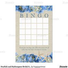 Starfish and Hydrangeas Bridal Shower Bingo Stationery