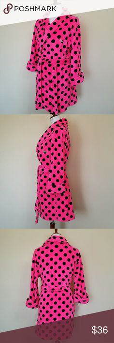 Victoria Secret PINK Polka Dots Robe XS/S VS PINK Polka Dots Plush Robe Size XS/S. Hot neon  pink with black polka dots. LIKE NEW. It comes with belt. PINK Victoria's Secret Intimates & Sleepwear Robes