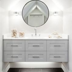 Gray Floating Bathroom Vanity, Contemporary, Bathroom