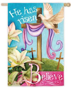 Easter Cross Garden Flag Religious He Is Risen Briarwood Lane Peace Dove Easter Backgrounds, Resurrection Day, Easter Garden, He Has Risen, Easter Religious, Religious Art, Bright Pictures, Peace Dove, Easter Cross