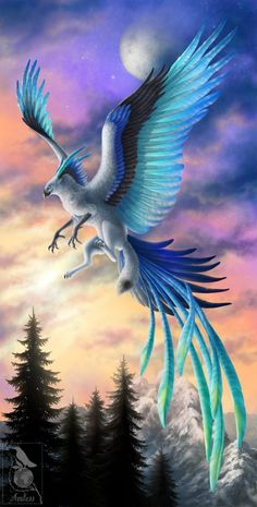 Wings of Ice by *Araless on deviantART~ a beautiful blue phoenix