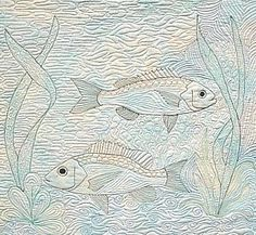 Free Motion Quilted Fish quilt panel, quilt design, quilt fish, incred quilt, motion quilt