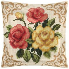 Bucilla Floral Rose Needlepoint Pre-Worked Seat by TheIDconnection Cross Stitch Cushion, Cross Stitch Bird, Cross Stitch Flowers, Cross Stitch Embroidery, Embroidery Patterns, Hand Embroidery, Cross Stitch Patterns, Thick Wool Yarn, Needlepoint