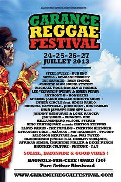 Garance festival reggae 2013 à Bagnols sur Cèze. Du 24 au 27 juillet 2013 à Bagnols sur Cèze.