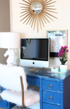 Cute accessories. Swap out blue though. danielle oakey interiors: $20 DIY Desk Chair Makeover