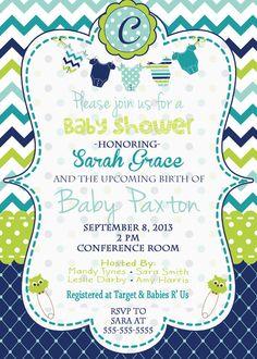 Baby Boy Baby Shower Invitation Baby Shower Invitation Blue, Green, Chevron, Polka Dots on Etsy, $15.00