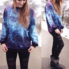 Galaxy printed loose round neck sweater