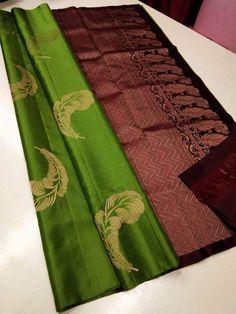 Kanjivaram Sarees Silk, Soft Silk Sarees, South Indian Wedding Saree, Wedding Sari, Saree Color Combinations, Saree Painting Designs, Sarees For Girls, Saree Collection, Trendy Collection