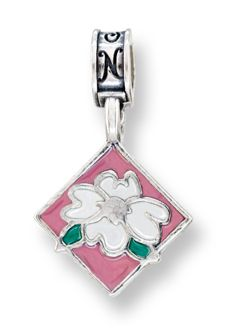 Nomades - Officers Wives Club Camp Lejeune - OWC Camp Lejeune is the Officer Spouses Club in Camp Lejeune, NC. - The charm is a sterling silver magnolia flower on a diamond shape background.  It is accented with white, green and pink enamel.  Written on the back is Camp Lejeune OWC.