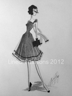 Fashion Illustration 1950s Dress Cocktail Party by LinearFashions