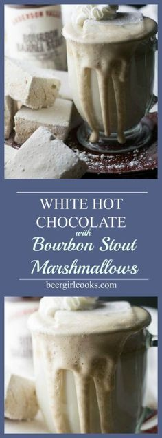 White Hot Chocolate with Bourbon Barrel Stout Marshmallows is an adult version of a classic winter warmer made with white chocolate and beer marshmallows. via @beergirlcooks1 #cocktail #drinks #marshmallows