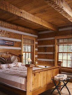 cabin bedroom. | Log Cabin Bedroom | Hearthstone Log Homes