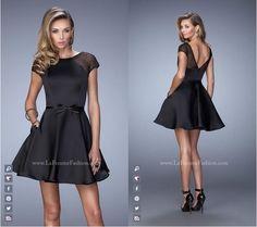 La Femme style 21984 ~ Little Black Dress ~ Short Dress ~ Cap Sleeve ~ Satin Dress ~ Rhinestones ~ Open Back ~ Homecoming Dress ~ Cocktail Dress ~ Wedding Guest Dress ~ Chic ~