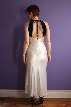 Vintage 1980's black velvet and white satin dress by trashedbytime, $40.00