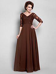 Sheath/Column V-neck Floor-length Chiffon Mother of the Bride Dress – USD $ 99.99