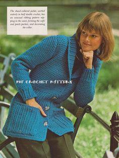 Crochet Ladies Shawl-Collared Jacket Pattern #KC1204, Advanced Skill Level, Crochet PDF Pattern