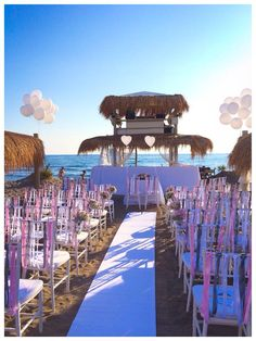 My beach romantic wedding in pink and grey