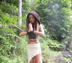 Victoria in the cowl hood crop top, elven over skirt, and leaf cut out arm cuffs~
