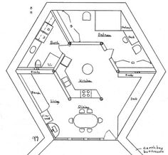 Risultati immagini per casa de barro cozinha The Plan, How To Plan, Hexagon House, Round House Plans, Free Floor Plans, Earth Sheltered Homes, Earth Bag Homes, Geodesic Dome Homes, Natural Building