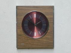 Large Mid-Century Modern Wooden Wall Clock with Chrome by Sunbeam