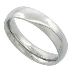 Surgical Steel 5mm Domed Wedding Band Thumb Ring Comfort-Fit High Polish, sizes 5 to 12 $5.95 #topseller