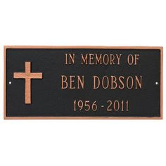 Montague Metal Products Rugged Cross Memorial Plaque Finish: Navy/Silver